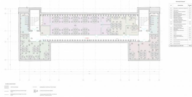 Офисное здание на ул. 2-ая Боевская. Функциональное зонирование мансарды © Архитектурная мастерская Лызлова