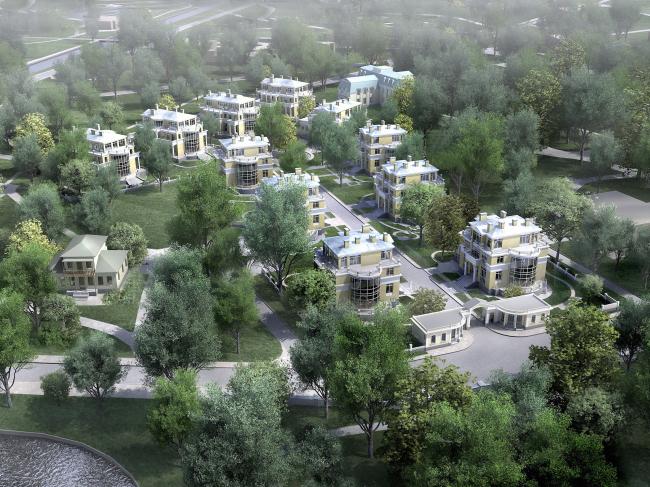 Жилой комплекс на реке Крестовке © Архитектурная мастерская Цыцина