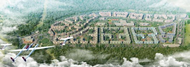 Жилой квартал «Новое Свертолово». Вид с высоты птичьего полёта. Проект, 2015 © Архитектурная мастерская Цыцина
