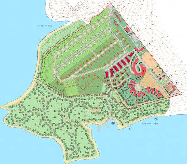 Спортивно-досуговый центр на Можайском море. Ситуационный план © Архитектуриум