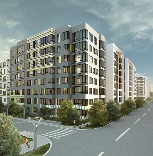 Options of the facade solutions for the residential quarter in the town of Vidnoe. Option 4. Project, 2015 © PANACOM
