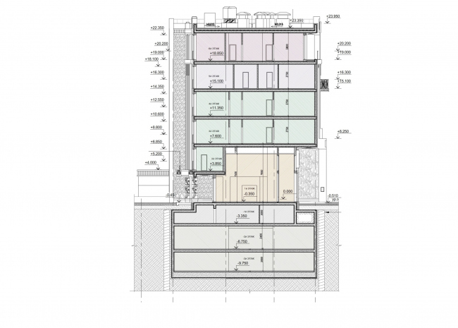 """Residence in Vsevolozhsky"". Section view © Mezonproject"