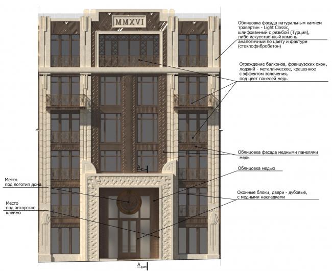 """Residence in Vsevolozhsky"". Fragment of the main facade © Mezonproject"