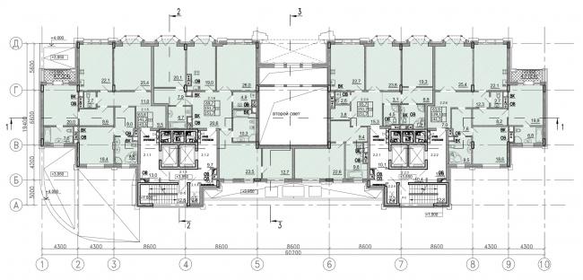 Клубный дом «Резиденция на Всеволожском». План 2 этажа © Мезонпроект