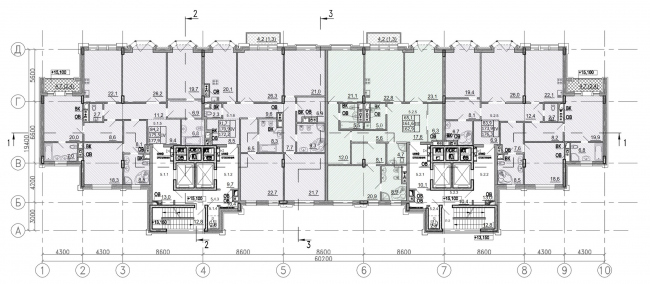 """Residence in Vsevolozhsky"". Plan of the typical floor © Mezonproject"