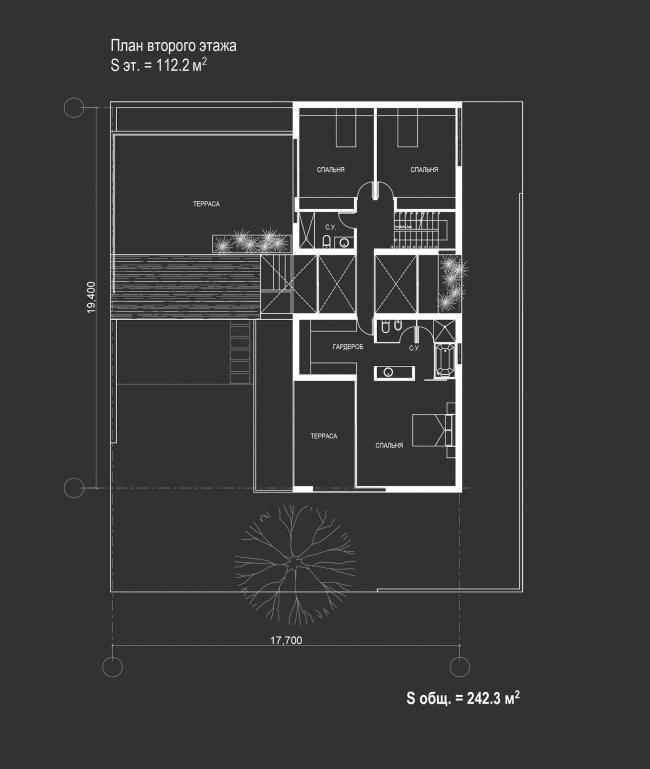 Комплекс зданий «Малый Ахун». План 2 этажа коттеджа (зона «А»). Проект, 2012 © Гинзбург Архитектс
