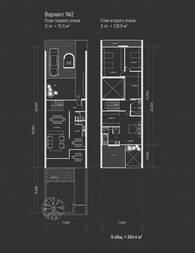 Комплекс зданий «Малый Ахун». Планы 1-2 этажей таунхаусов (вариант 2). Проект, 2012 © Гинзбург Архитектс