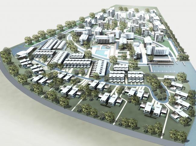 Комплекс зданий «Малый Ахун». Вид с высоты птичьего полёта. Проект, 2012 © Гинзбург Архитектс