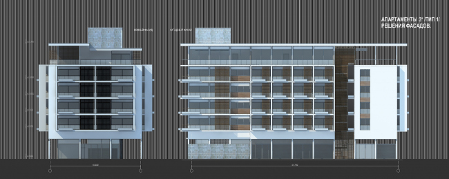 Комплекс зданий «Малый Ахун». Фасады апартаментов 3 звезды (зона «В»). Проект, 2012 © Гинзбург Архитектс