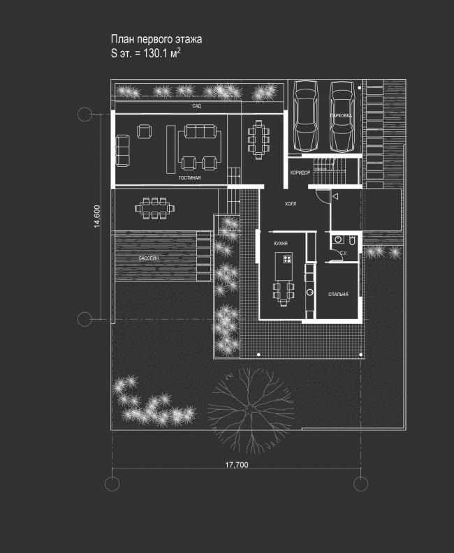 Комплекс зданий «Малый Ахун». План 1 этажа коттеджа (зона «А»). Проект, 2012 © Гинзбург Архитектс