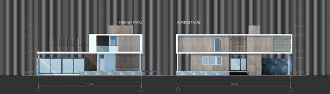 Комплекс зданий «Малый Ахун». Фасады коттеджей (зона «А»). Проект, 2012 © Гинзбург Архитектс
