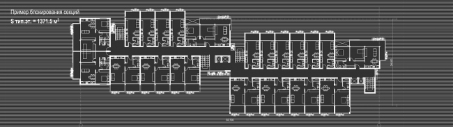 Комплекс зданий «Малый Ахун». Пример блокированния секций. Проект, 2012 © Гинзбург Архитектс