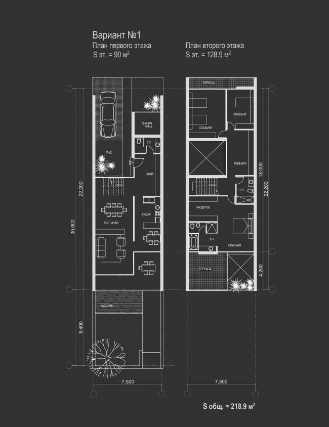 Комплекс зданий «Малый Ахун». Планы 1-2 этажей таунхаусов (вариант 1). Проект, 2012 © Гинзбург Архитектс