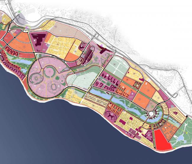 Комплекс зданий «Малый Ахун». Схема функционального назначения зданий. Проект, 2012 © Гинзбург Архитектс