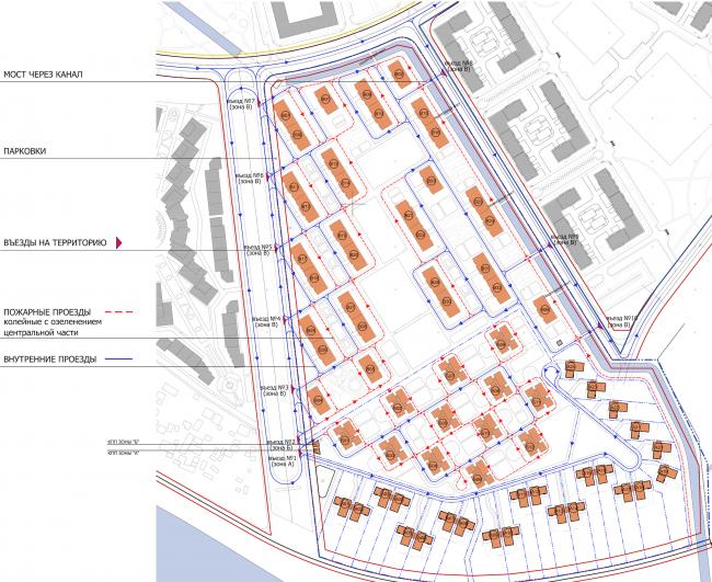 Комплекс зданий «Малый Ахун». Схема движения транспорта. Проект, 2012 © Гинзбург Архитектс