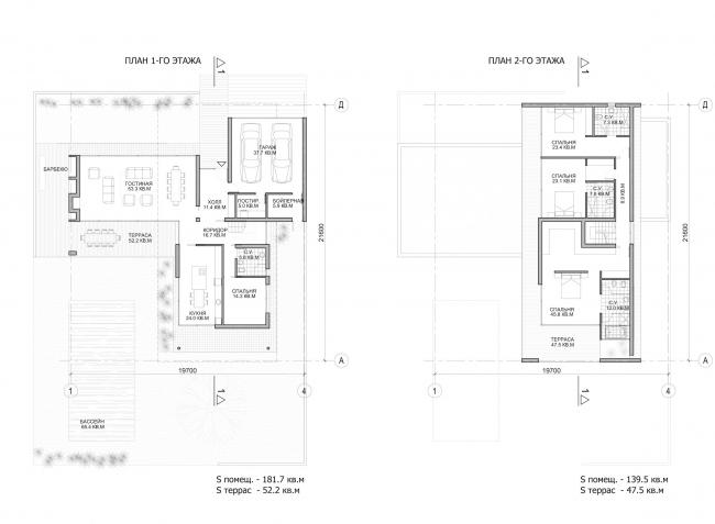 Комплекс зданий «Малый Ахун». Гостиничный комплекс (зона «А»). Планы 1-2 этажей. Проект, 2012 © Гинзбург Архитектс