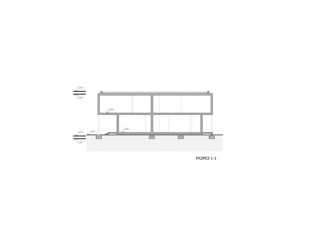 Комплекс зданий «Малый Ахун». Гостиничный комплекс (зона «А»). Разрез. Проект, 2012 © Гинзбург Архитектс