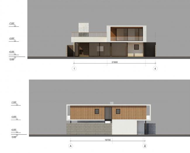 Комплекс зданий «Малый Ахун». Гостиничный комплекс (зона «А»). Фасад. Проект, 2012 © Гинзбург Архитектс