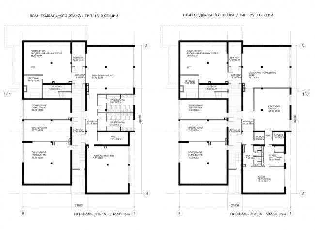 Комплекс зданий «Малый Ахун». Гостиничный комплекс (зона «Б»). Планы подвальных этажей. Проект, 2012 © Гинзбург Архитектс