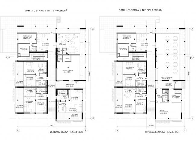 Комплекс зданий «Малый Ахун». Гостиничный комплекс (зона «Б»). Планы 1х этажей. Проект, 2012 © Гинзбург Архитектс