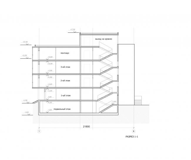 Комплекс зданий «Малый Ахун». Гостиничный комплекс (зона «Б»). Разрез. Проект, 2012 © Гинзбург Архитектс
