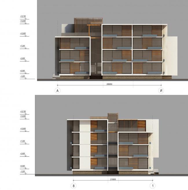 Комплекс зданий «Малый Ахун». Гостиничный комплекс (зона «Б»). Фасады. Проект, 2012 © Гинзбург Архитектс