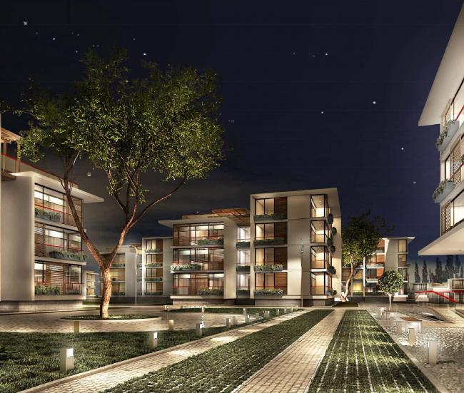 Комплекс зданий «Малый Ахун». Гостиничный комплекс (зона «Б»). Проект, 2012 © Гинзбург Архитектс