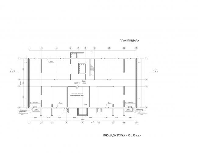 Комплекс зданий «Малый Ахун». Гостиничный комплекс (зона «В»). План подвала. Проект, 2012 © Гинзбург Архитектс