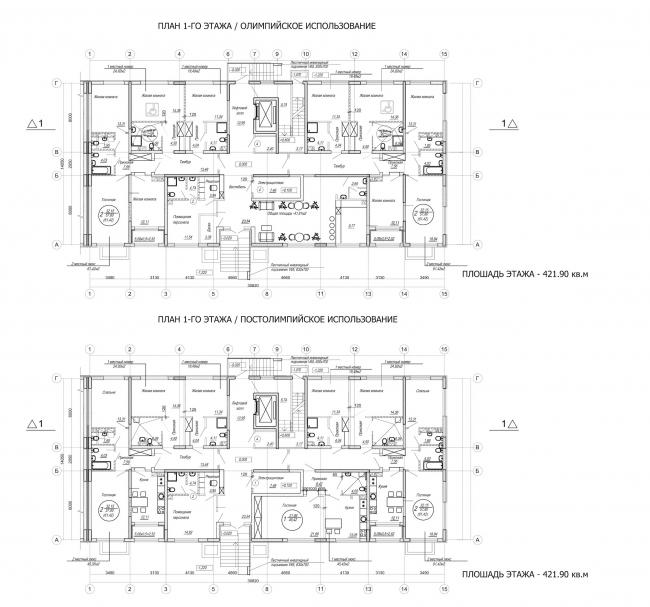 Комплекс зданий «Малый Ахун». Гостиничный комплекс (зона «В»). Планы 1х этажей. Проект, 2012 © Гинзбург Архитектс