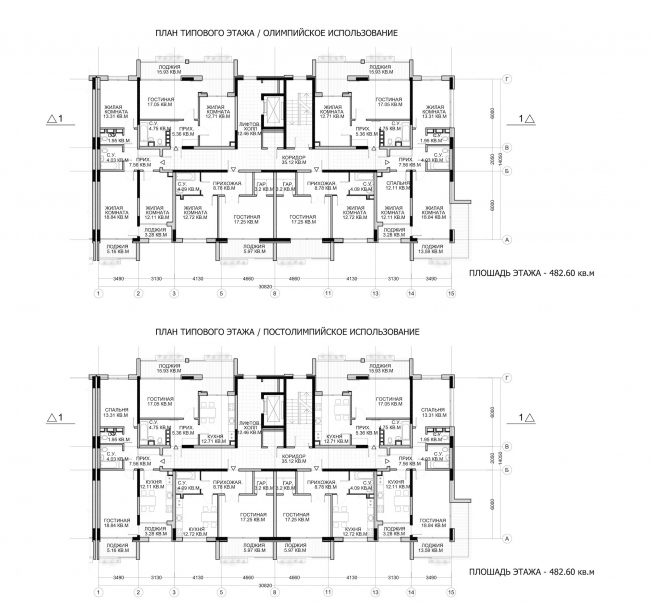 Комплекс зданий «Малый Ахун». Гостиничный комплекс (зона «В»). Планы типовых этажей. Проект, 2012 © Гинзбург Архитектс