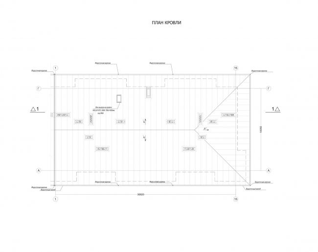 Комплекс зданий «Малый Ахун». Гостиничный комплекс (зона «В»). План кровли. Проект, 2012 © Гинзбург Архитектс