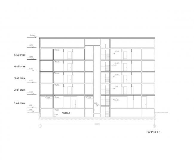 Комплекс зданий «Малый Ахун». Гостиничный комплекс (зона «В»). Разрез. Проект, 2012 © Гинзбург Архитектс