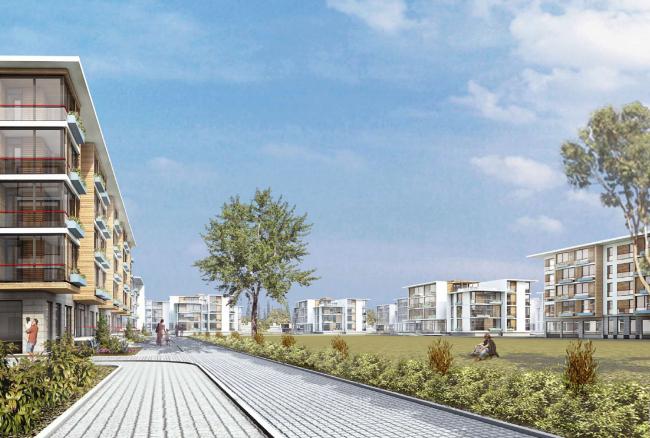 Комплекс зданий «Малый Ахун». Гостиничный комплекс (зона «В»). Проект, 2012 © Гинзбург Архитектс