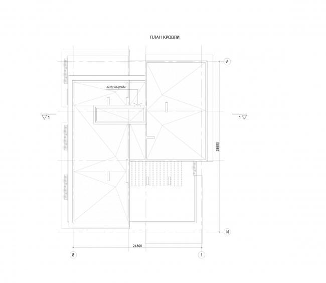 Комплекс зданий «Малый Ахун». Гостиничный комплекс (зона «Б»). План кровли. Проект, 2012 © Гинзбург Архитектс