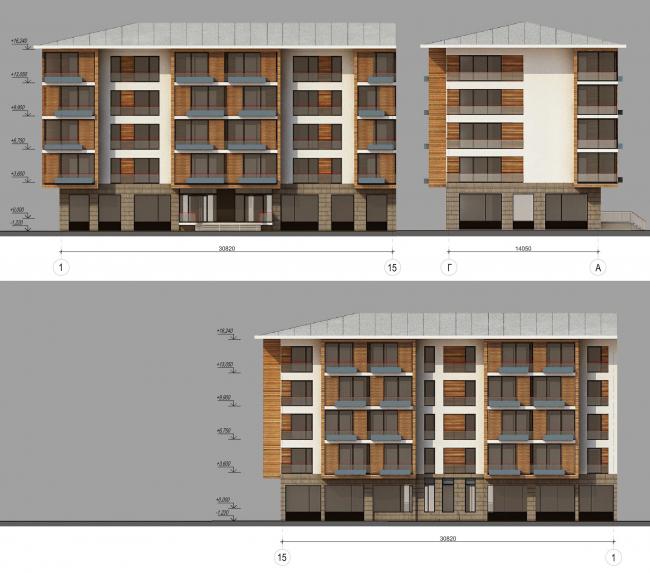 Комплекс зданий «Малый Ахун». Гостиничный комплекс (зона «В»). Фасад. Проект, 2012 © Гинзбург Архитектс