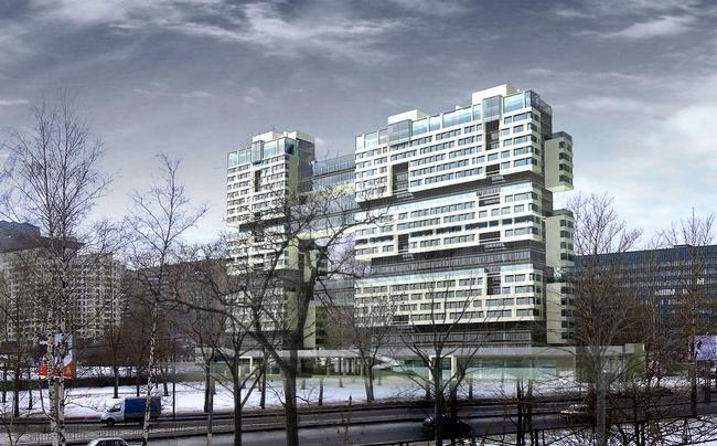 Жилой дом на Нахимовском проспекте. Вид на комплекс со стороны Нахимовского проспекта © Архитектурное бюро Асадова