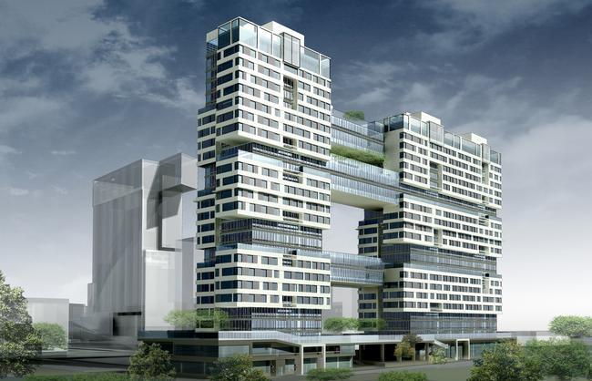 Жилой комплекс «Versis» на Нахимовском проспекте. 3-D визуализация. Вид на комплекс со стороны гаражей © Архитектурное бюро Асадова