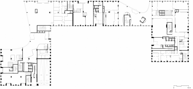 Multifunctional building with residential and other kinds of premises on the Shosse Entuziastov. Plan of the first floor. Project, 2015 © ADM