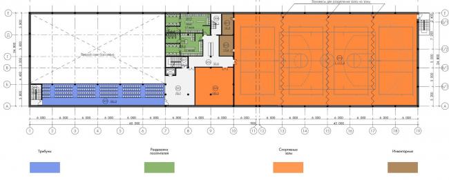 Здание кафедры физической культуры и тренажерный комплекс «Виртуальное судно». План 2 этажа. Проект, 2013-2014 © Проектное бюро «Крупный План»