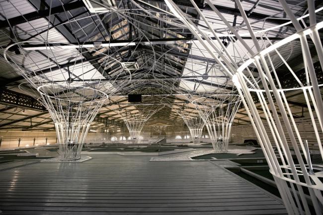 Инсталляция «Лес» для центра мини-гольфа и крокета. Ночной вид. Инсталляция, 2015 © AMD architects