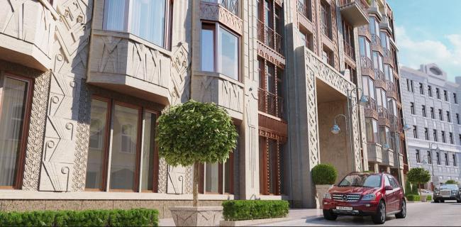"""Residence in Vsevolozhsky"". Main facade © Mezonproject"