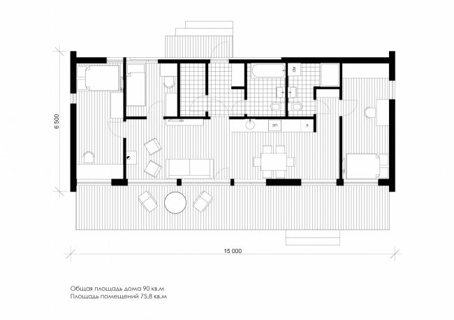 Серия домов «Дом-ковчег». Ковчег-6 (6 модулей). План. 2015 © АрхПроект-3
