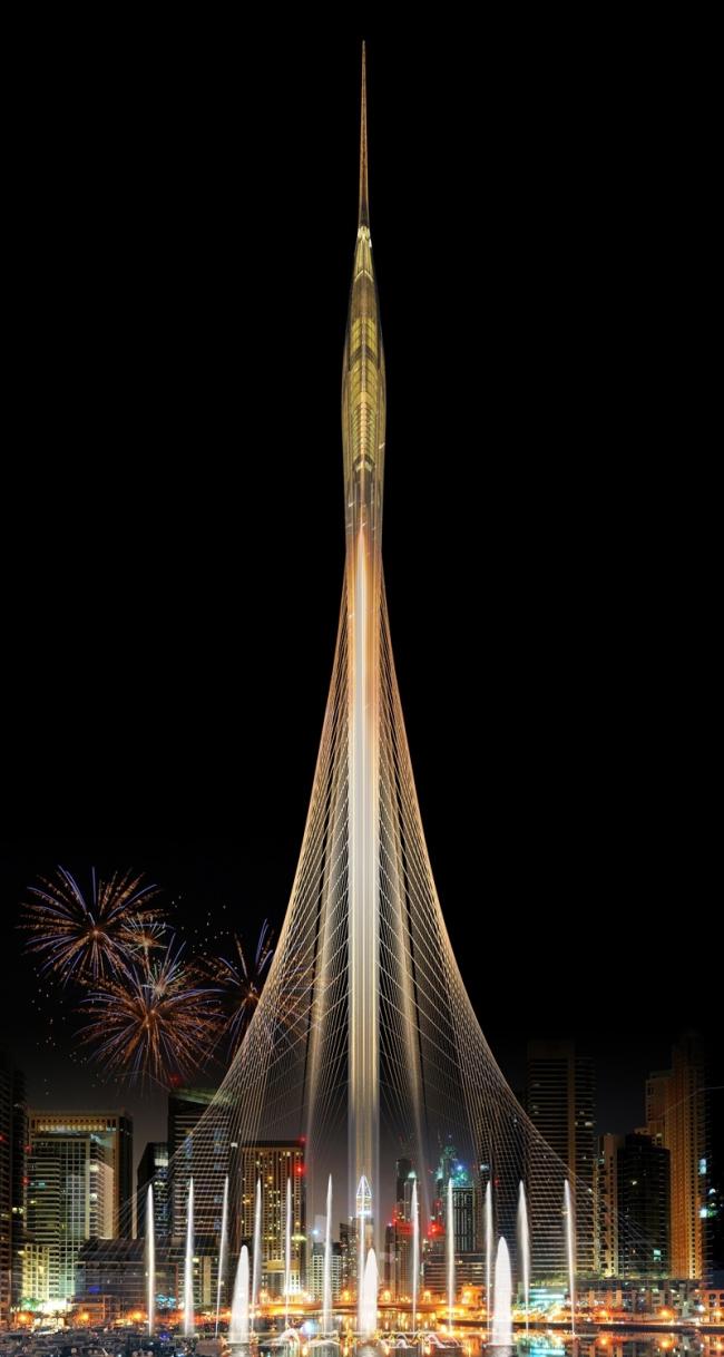 Смотровая башня в Dubai Creek Harbor © Santiago Calatrava