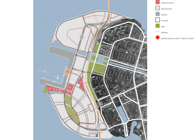 Комплексная общественно-жилая застройка на Васильевском острове. Ситуационный план. Проект, 2015 © KCAP Architects & Partners + ORANGE Architects