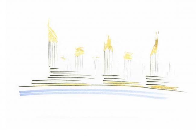 Комплексная общественно-жилая застройка на Васильевском острове. Поиск образа. Проект, 2015 © KCAP Architects & Partners + ORANGE Architects