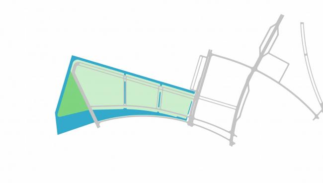 Комплексная общественно-жилая застройка на Васильевском острове. Схема включения в проект воды. Проект, 2015 © KCAP Architects & Partners + ORANGE Architects
