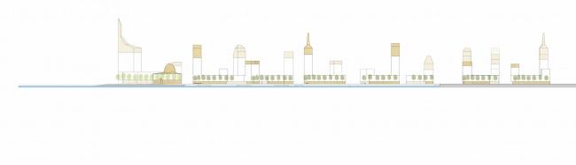 Комплексная общественно-жилая застройка на Васильевском острове. Развёртка вдоль канала. Проект, 2015 © KCAP Architects & Partners + ORANGE Architects