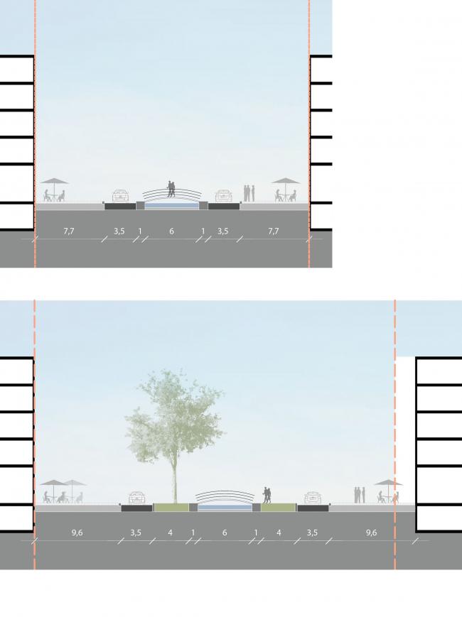 Комплексная общественно-жилая застройка на Васильевском острове. Профили улиц. Проект, 2015 © KCAP Architects & Partners + ORANGE Architects