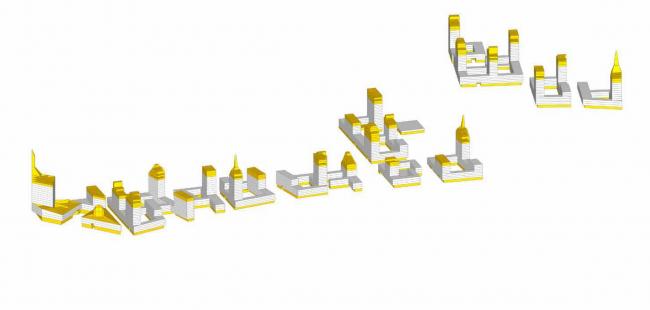 Комплексная общественно-жилая застройка на Васильевском острове. Объёмно-планировочное рещение. Проект, 2015 © KCAP Architects & Partners + ORANGE Architects