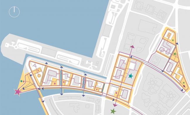 Комплексная общественно-жилая застройка на Васильевском острове. Пешеходная сеть. Проект, 2015 © KCAP Architects & Partners + ORANGE Architects